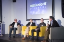 "Diskutierten in der ""Media Night"" über Chancen der Filmwirtschaft: (v.l.) Moderator Dirk Martens (House of Research GmbH), Dr. Jan Asmus (nordmedia), Christian Seemann (Hochschule Main), C. Cay Wesnigk (Onlinefilm AG). Foto: WLG"